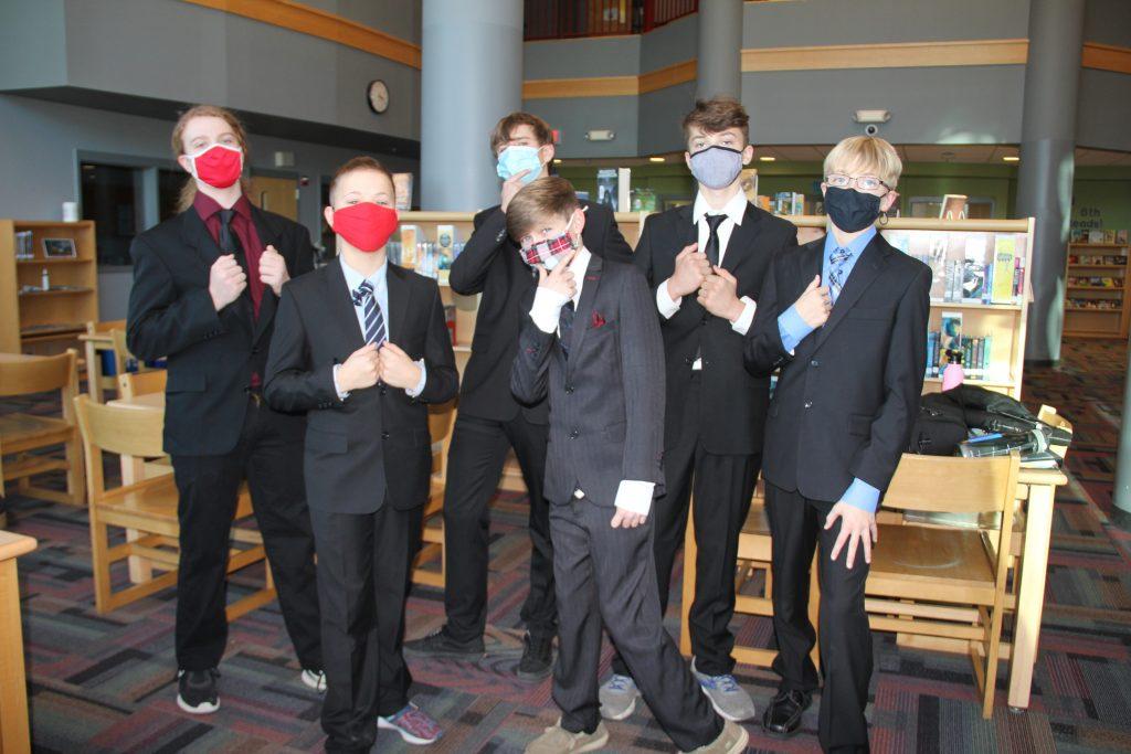 Mock trial boys posing