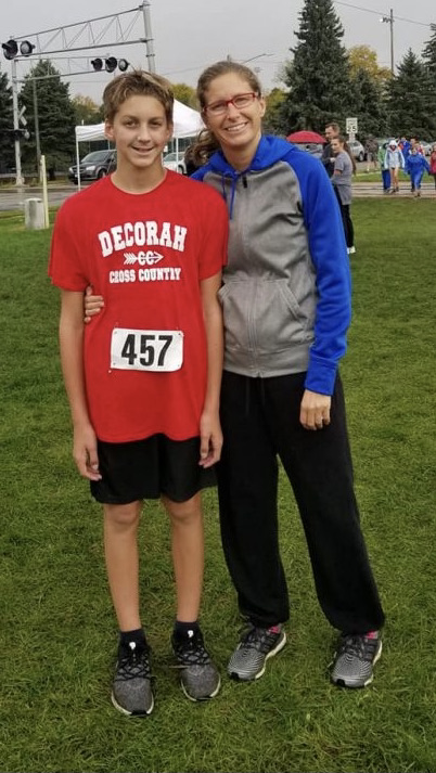 Mom and son at cross country meet