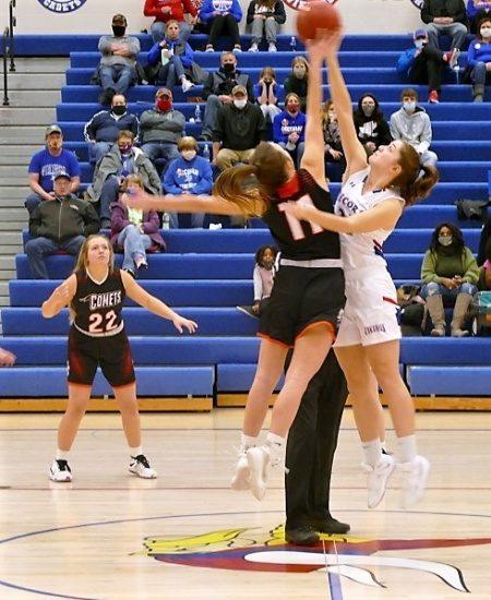 Girls basketball jump ball