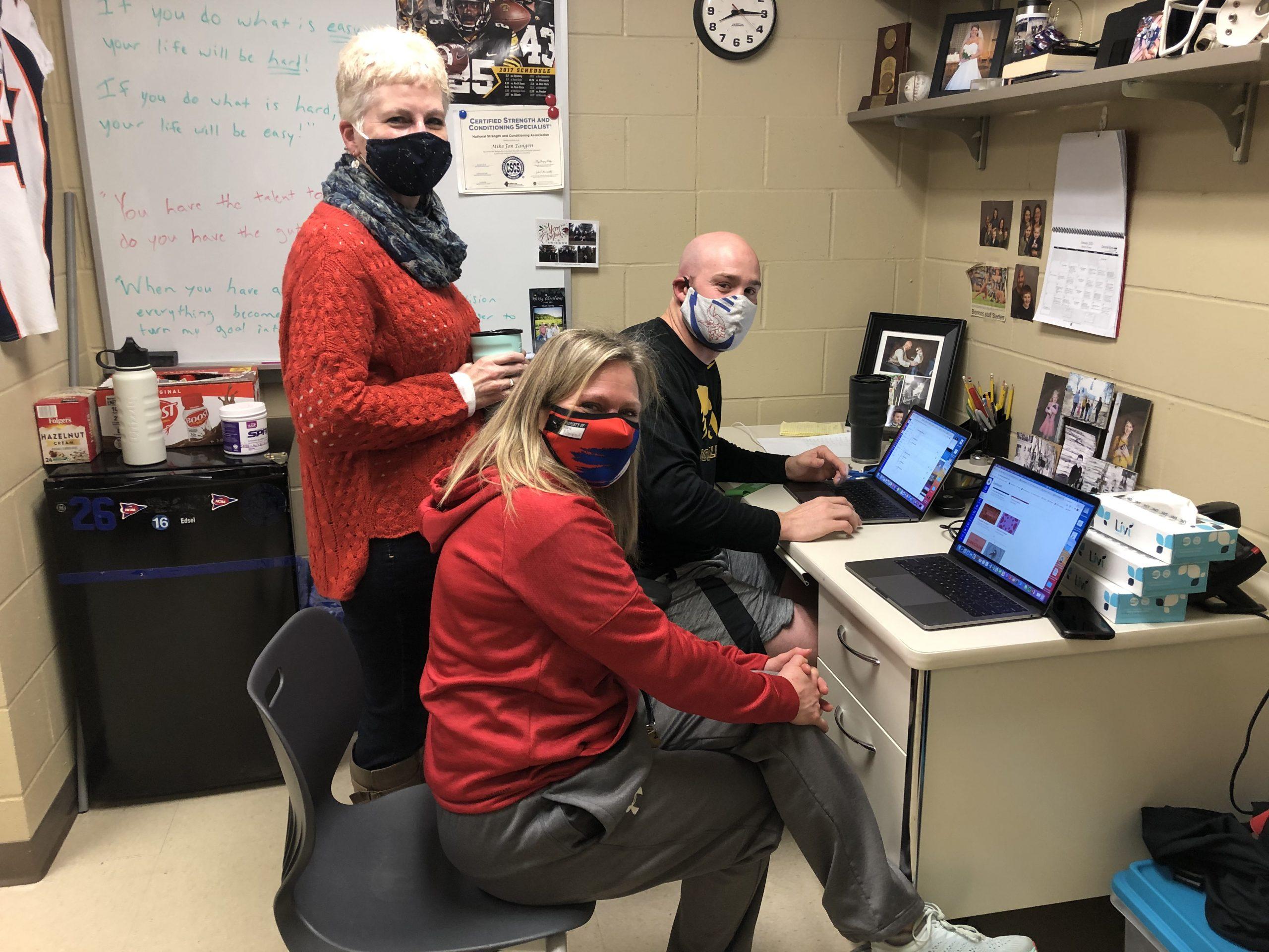 Teachers on laptops