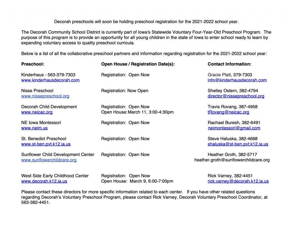PRESCHOOL Registration Info for 2021 2022