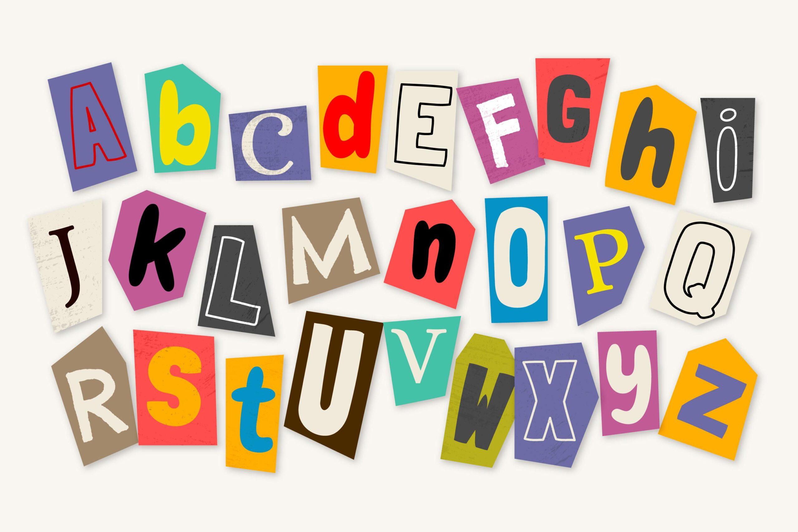The alphabet A through Z