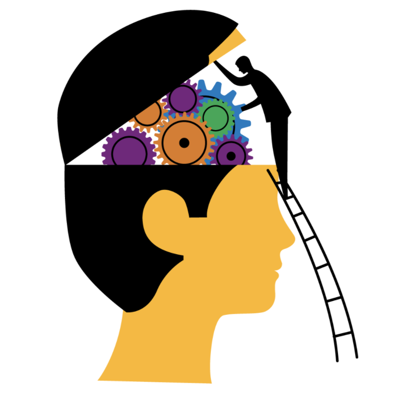 Man working on cartoon brain