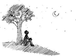 Image of person sitting under tree and looking at the moon
