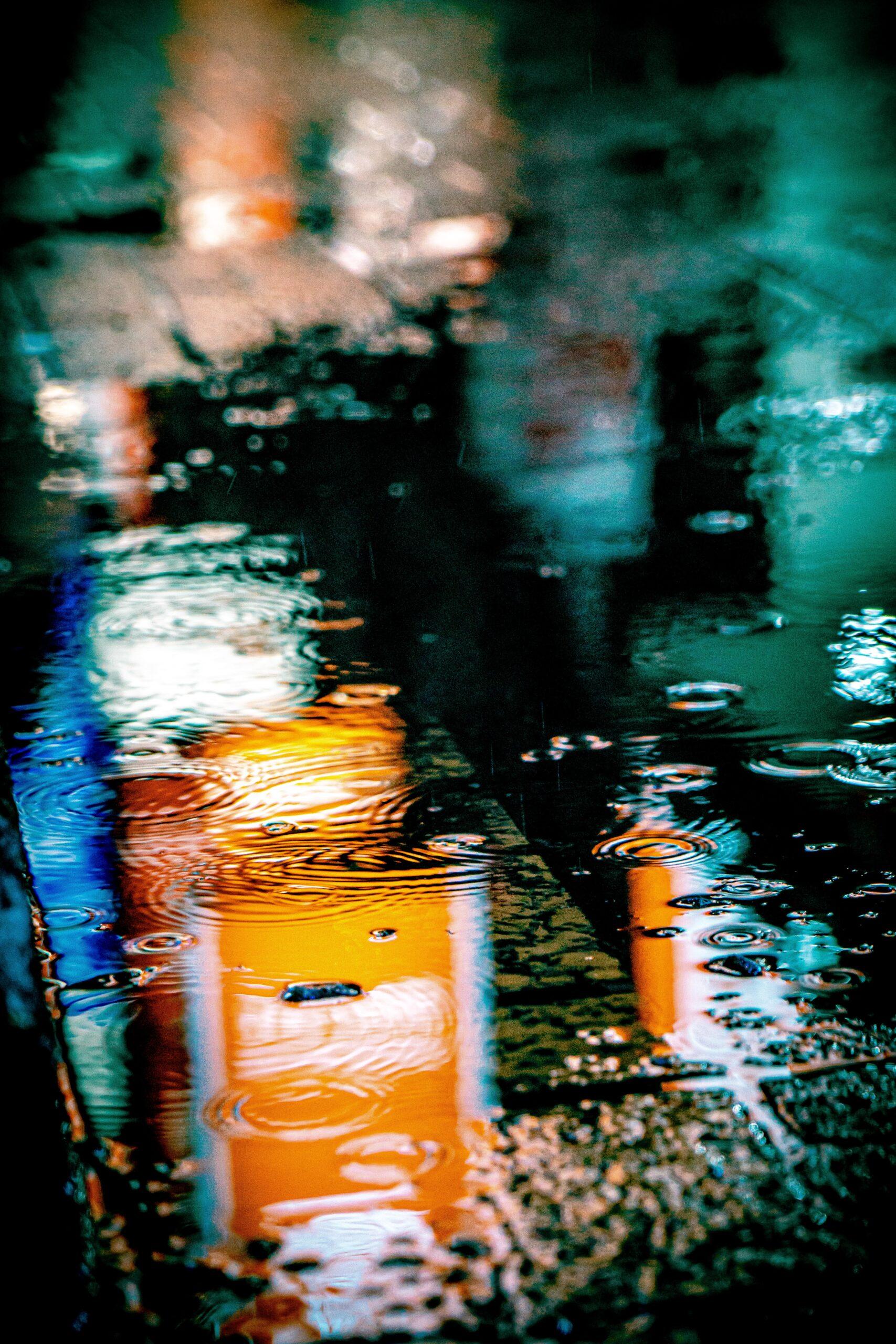 rainy, wet sidewalk