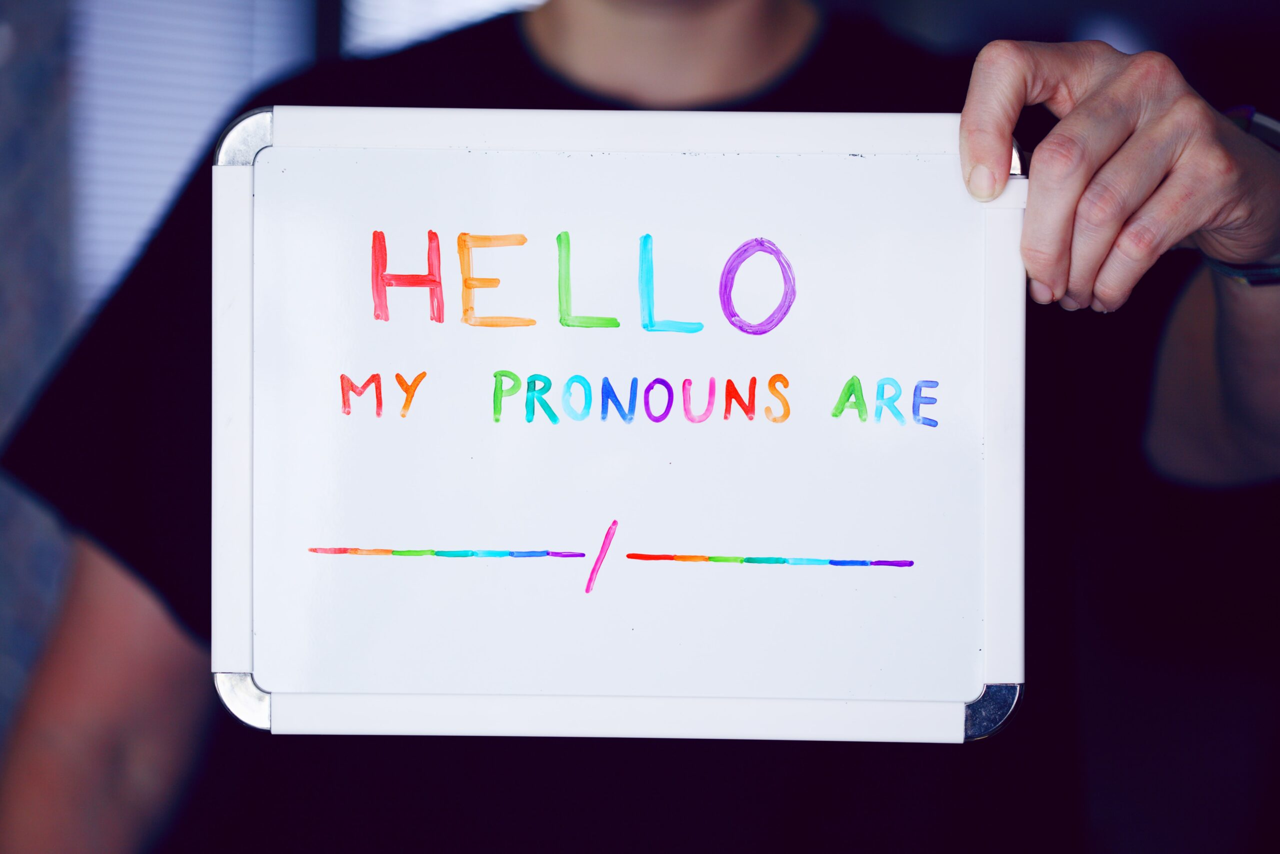 Hello my pronouns are (blank) sign