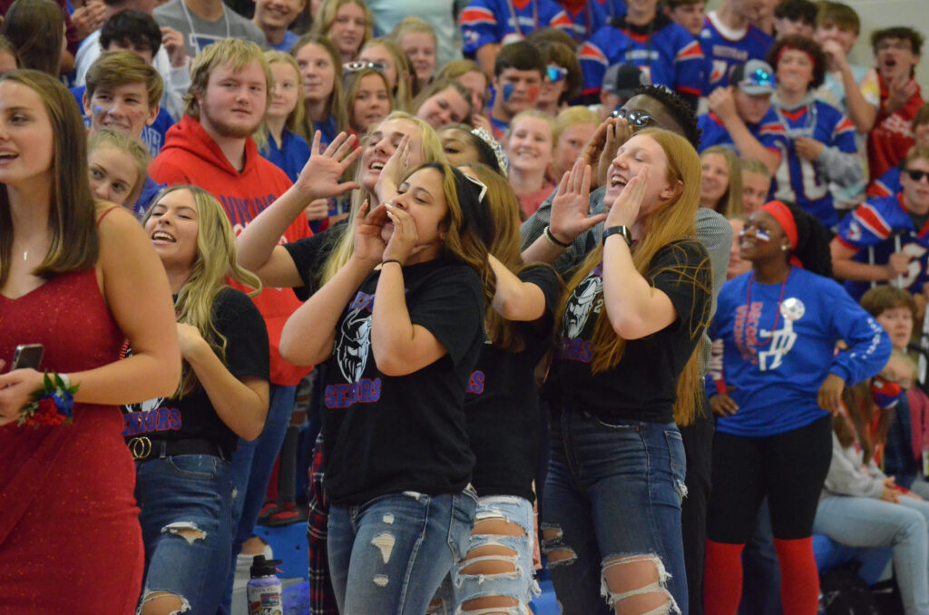 Students yelling at pep assembly