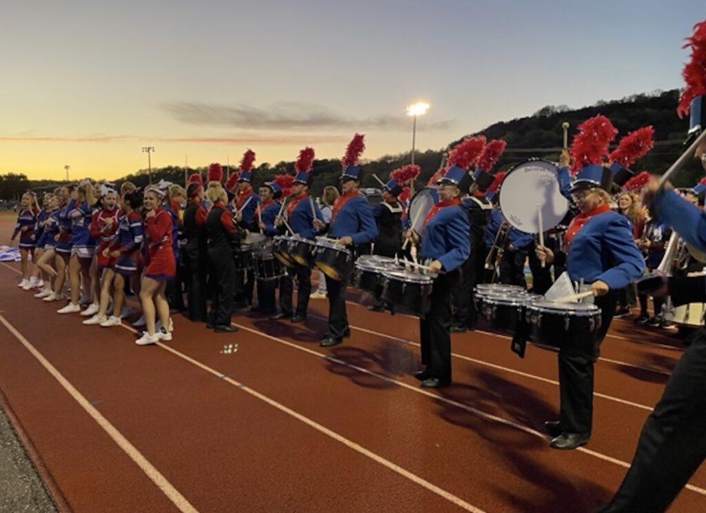 Drum line and cheerleaders
