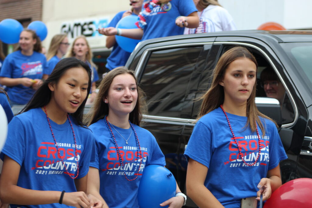 Cross country girls in homecoming parade