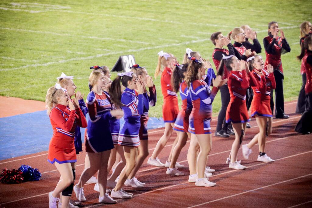 Cheerleaders yelling