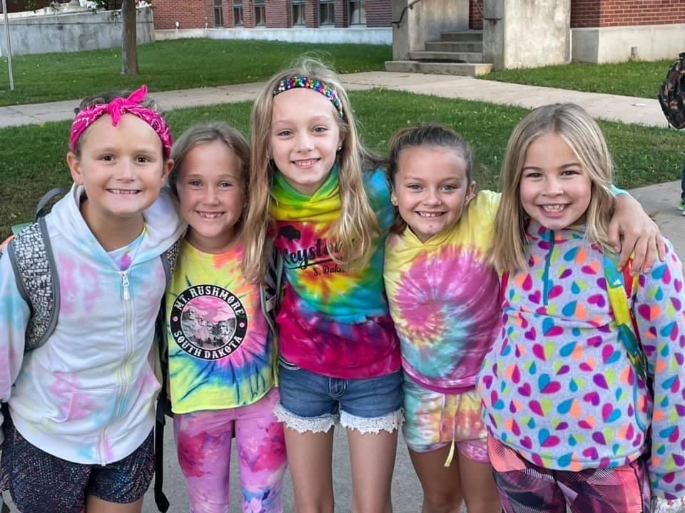 Girls in tie dyes