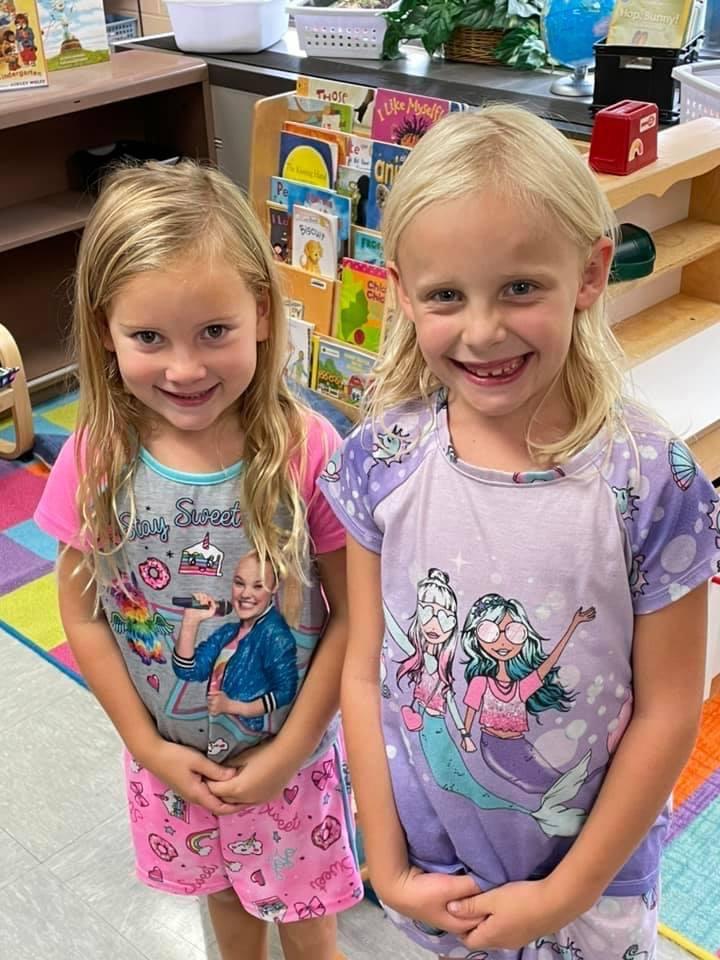 2 girls in pajamas