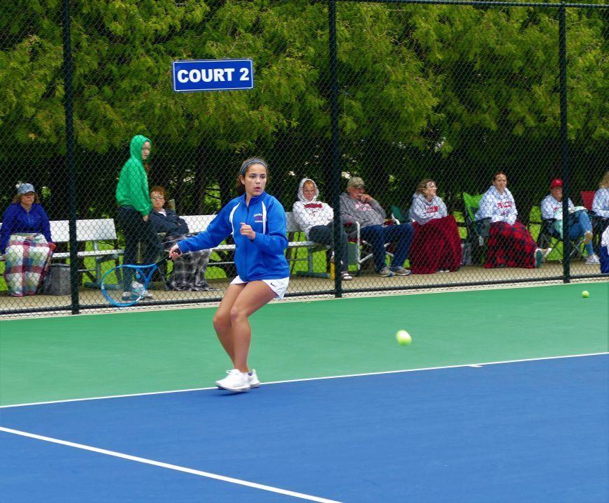 Girls tennis player ready to swing